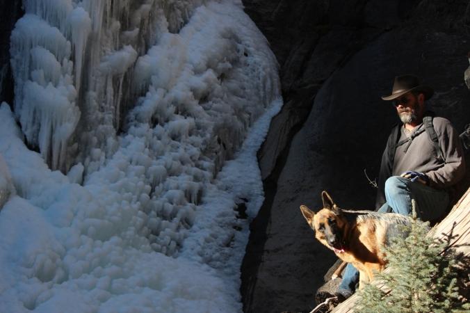 gunnar and bob by waterfall