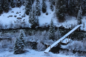 open water snow on bridge