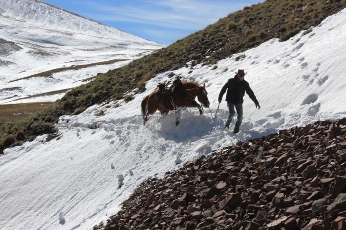 crossing a snowbank